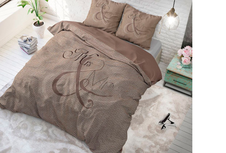 Luxe print dekbedovertrekken van Dreamhouse | Voor een comfortabele nachtrust  Mr and Mrs - taupe
