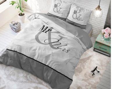 Luxe print dekbedovertrekken van Dreamhouse | Voor een comfortabele nachtrust  Mr and Mrs marble - grijs