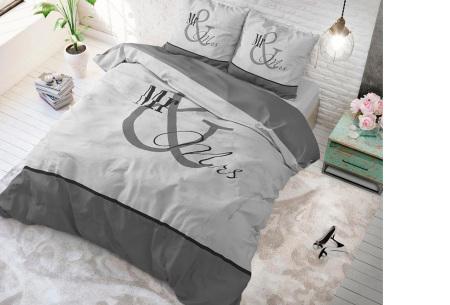 Luxe print dekbedovertrekken van Dreamhouse | Voor een comfortabele nachtrust  Mr and Mrs marble - antraciet