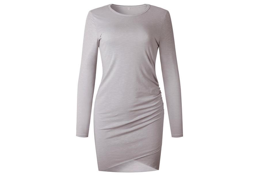 Longsleeve t-shirt dress - Maat XL - Grijs