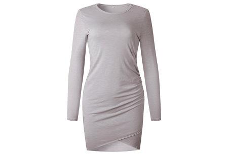 Longsleeve t-shirt dress | Luchtige en comfortabele jurk grijs