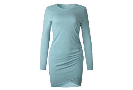Longsleeve t-shirt dress | Luchtige en comfortabele jurk grijsblauw