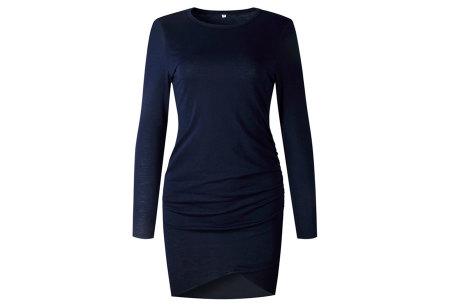 Longsleeve t-shirt dress | Luchtige en comfortabele jurk navy