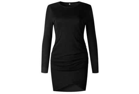Longsleeve t-shirt dress | Luchtige en comfortabele jurk zwart
