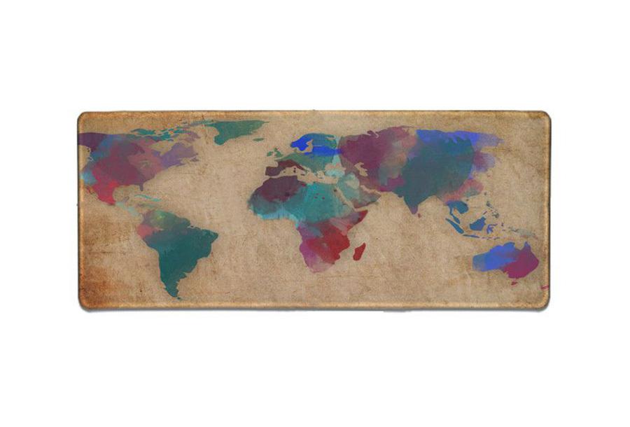 Wereldkaart muismat XL E - 90 x 30 cm