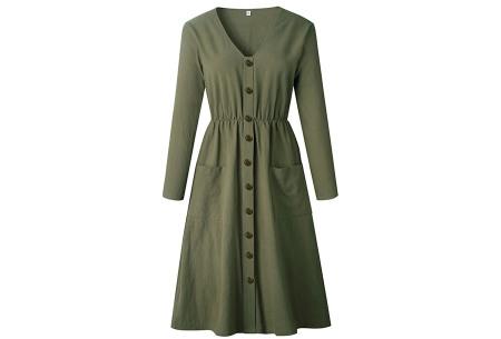 Button jurk met lange mouwen | De perfecte jurk voor dit seizoen Legergroen