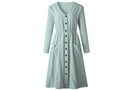 Button jurk met lange mouwen | De perfecte jurk voor dit seizoen Lichtblauw
