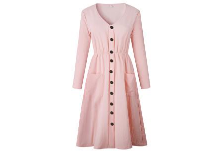 Button jurk met lange mouwen | De perfecte jurk voor dit seizoen Lichtroze