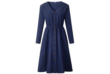 Button jurk met lange mouwen | De perfecte jurk voor dit seizoen Navy