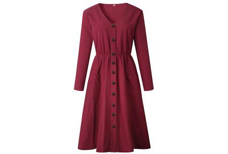 Button jurk met lange mouwen | De perfecte jurk voor dit seizoen Wijnrood