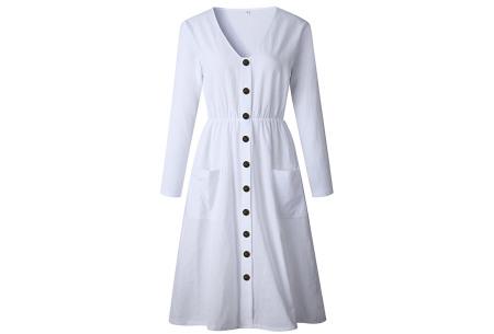 Button jurk met lange mouwen | De perfecte jurk voor dit seizoen Wit