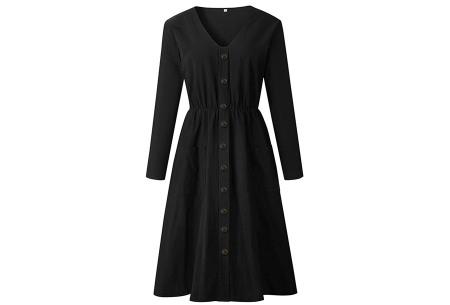 Button jurk met lange mouwen | De perfecte jurk voor dit seizoen Zwart