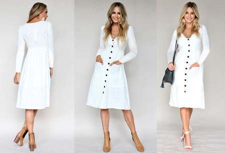 Button jurk met lange mouwen | De perfecte jurk voor dit seizoen