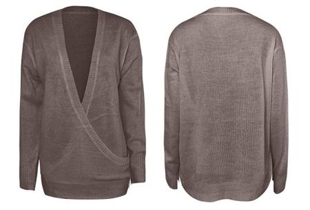 V-neck sweater | Ultra zachte & comfortabele trui met een verleidelijke look taupe