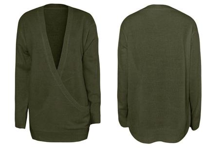 V-neck sweater | Ultra zachte & comfortabele trui met een verleidelijke look olijfgroen
