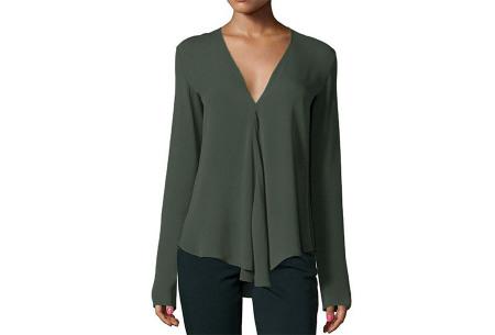 Classy v-neck blouse | Stijlvolle blouse verkrijgbaar in 4 kleuren Legergroen