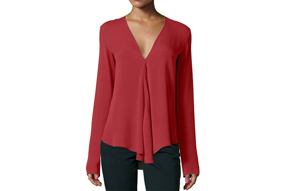 Classy v-neck blouse - Maat M - Wijnrood