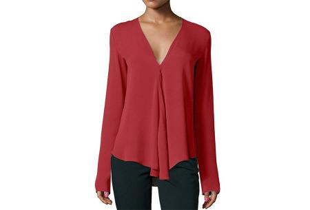Classy v-neck blouse | Stijlvolle blouse verkrijgbaar in 4 kleuren Wijnrood