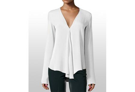 Classy v-neck blouse | Stijlvolle blouse verkrijgbaar in 4 kleuren Wit