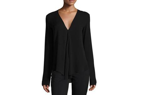 Classy v-neck blouse | Stijlvolle blouse verkrijgbaar in 4 kleuren Zwart