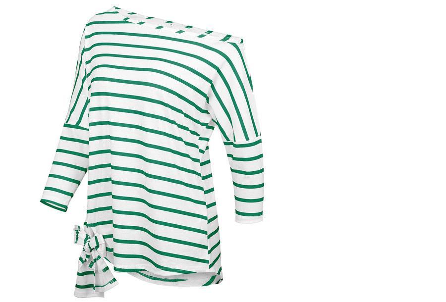 Striped off shoulder top Maat XL - Groen