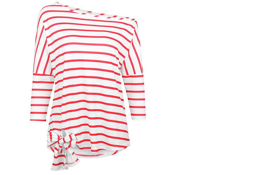 Striped off shoulder top Maat XL - Rood
