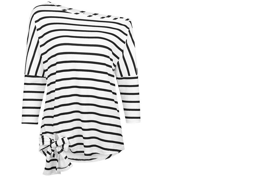 Striped off shoulder top Maat XL - Zwart