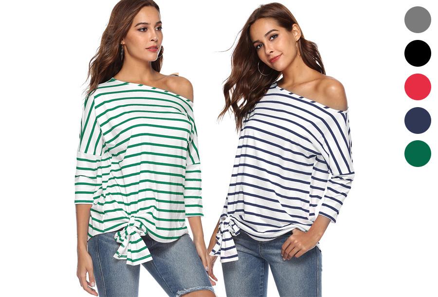 Striped off shoulder top in de sale