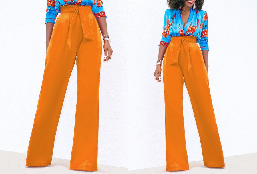 Highwaist stretchbroek Maat XL - Oranje