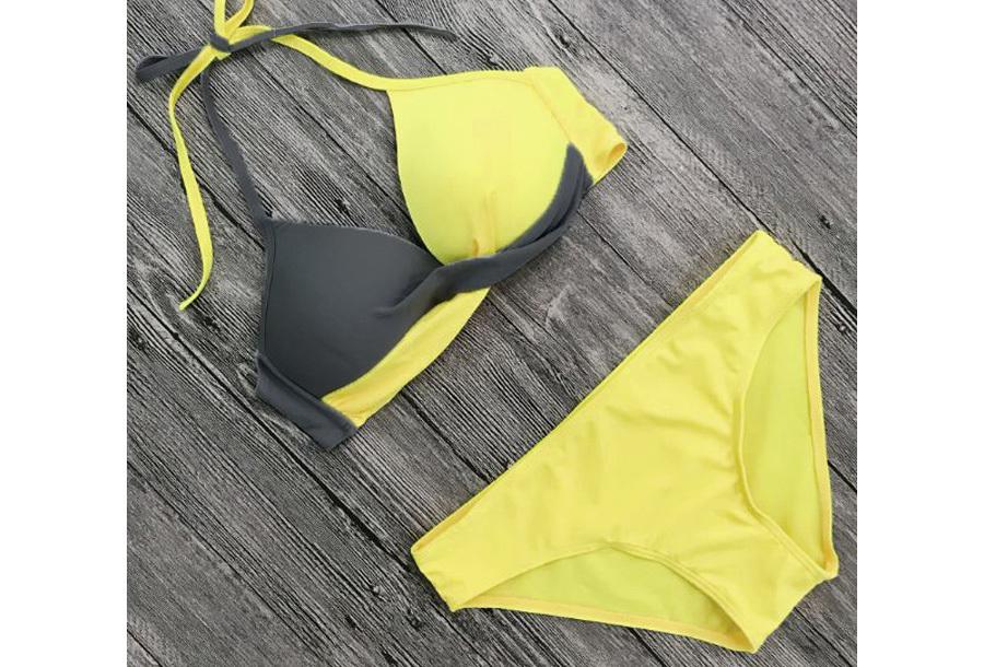 Two-colored bikini - Maat L/XL - Geel/grijs