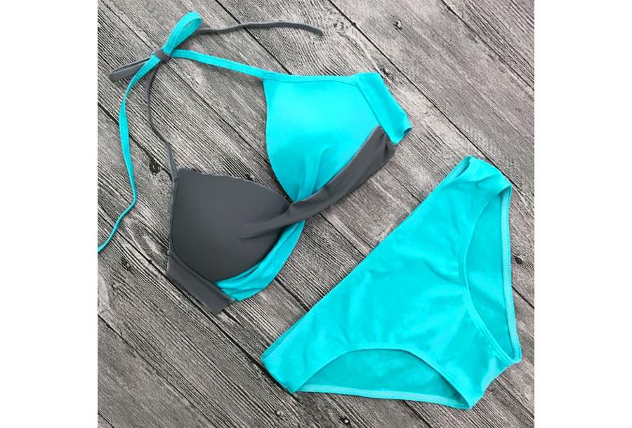 Two-colored bikini - Maat M/L - Turquoise/grijs