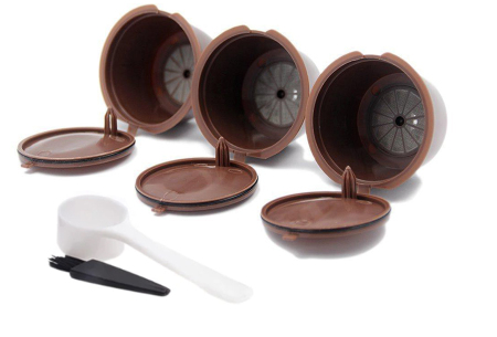 Hervulbare koffiecups voor Nespresso of Dolce Gusto | Set van 3 capsules bruin - dolce gusto