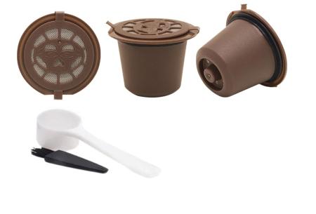 Hervulbare koffiecups voor Nespresso of Dolce Gusto | Set van 3 capsules bruin - nespresso