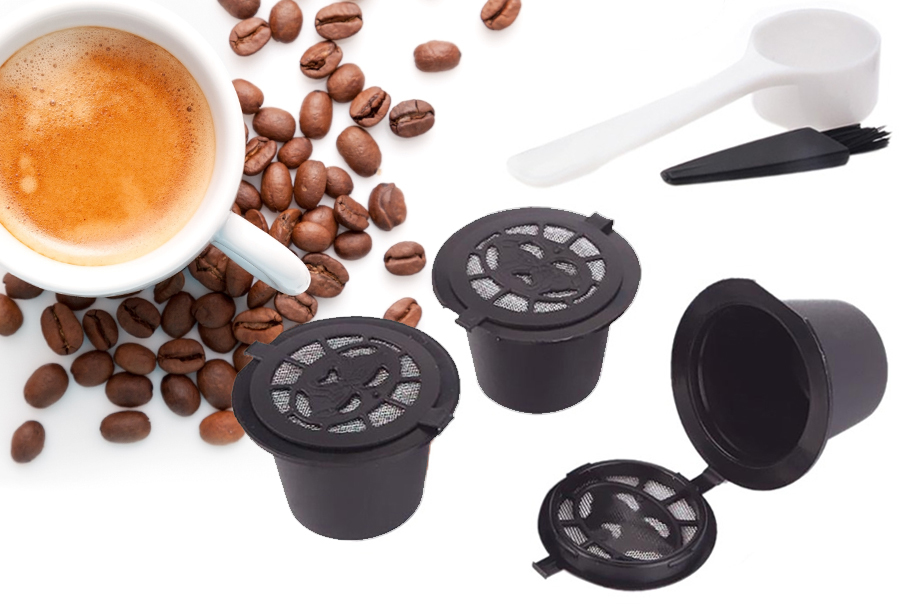 Hervulbare koffiecups set van 3 stuks