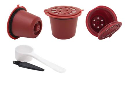 Hervulbare koffiecups voor Nespresso of Dolce Gusto | Set van 3 capsules rood - nespresso