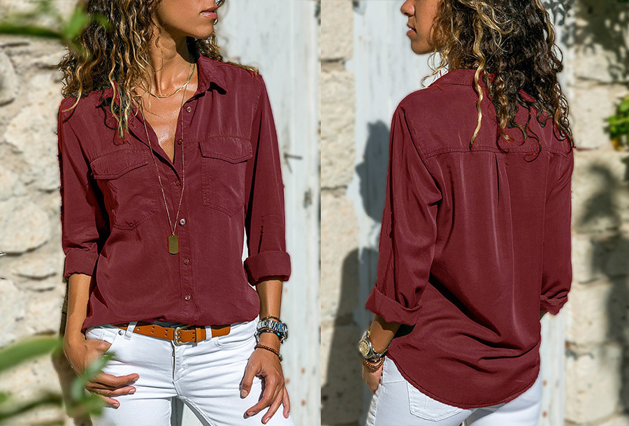 Casual dames blouse - Maat L - Wijnrood