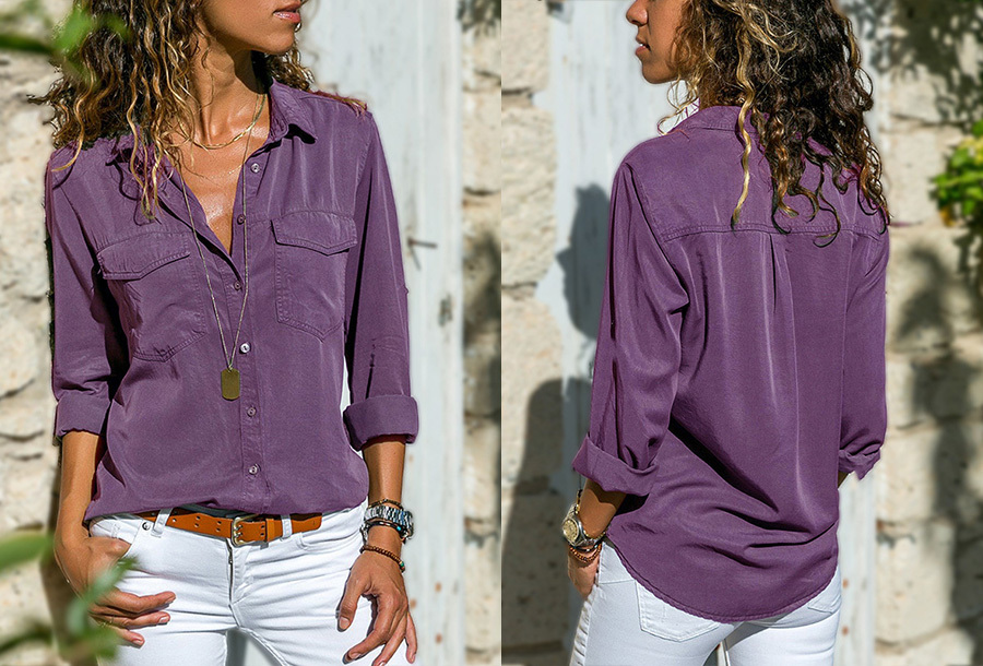 Casual dames blouse - Maat 2XL - Paars