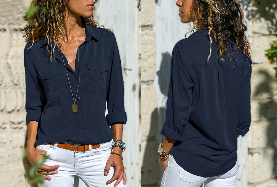 Casual dames blouse - Maat L - Navy