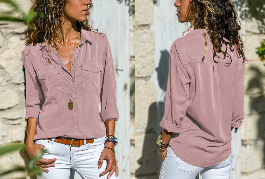 Casual dames blouse - Maat XS - Oudroze