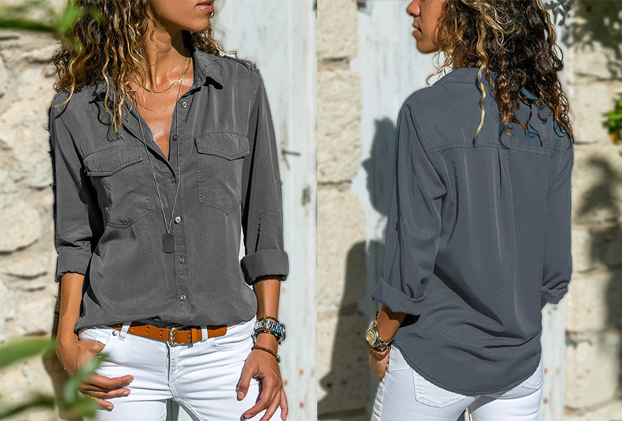 Casual dames blouse - Maat 2XL - Grijs