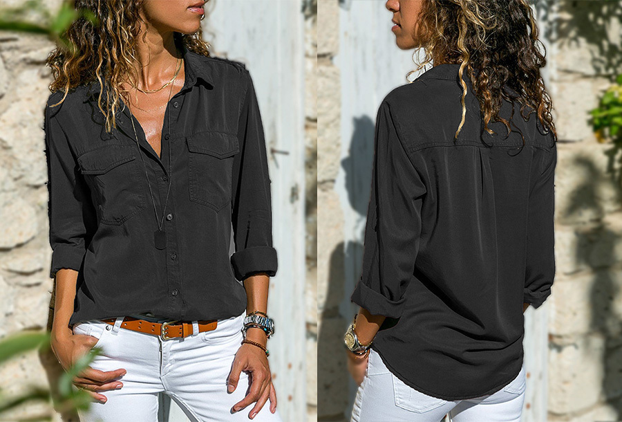 Casual dames blouse - Maat XS - Zwart