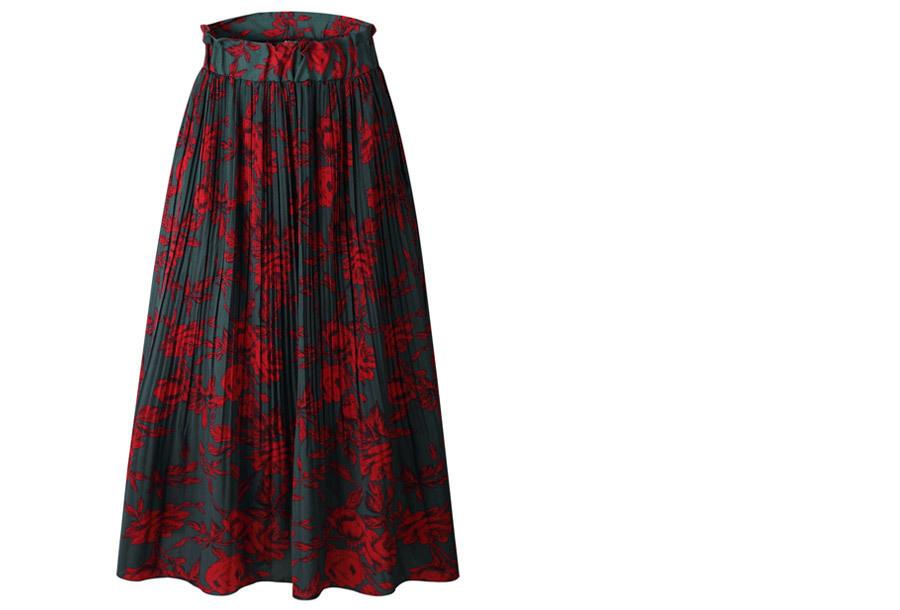 Lange pliss� rok Maat XL - Groen/rood