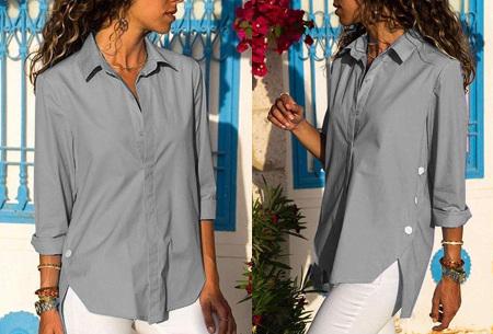 Basic button blouse   Stijlvolle wannahave voor elk figuur Grijs