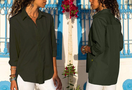 Basic button blouse   Stijlvolle wannahave voor elk figuur Legergroen