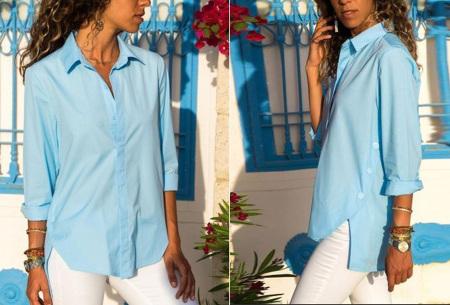 Basic button blouse   Stijlvolle wannahave voor elk figuur Lichtblauw