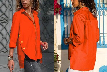 Basic button blouse   Stijlvolle wannahave voor elk figuur Oranje