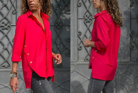 Basic button blouse | Stijlvolle wannahave voor elk figuur Rood