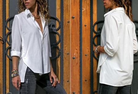 Basic button blouse | Stijlvolle wannahave voor elk figuur Wit