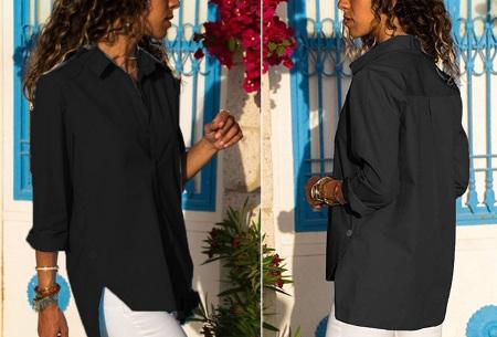 Basic button blouse   Stijlvolle wannahave voor elk figuur Zwart