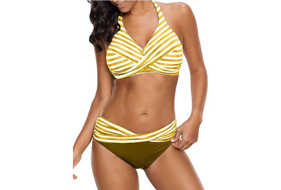Striped bikini Maat 2XL - Donkergeel